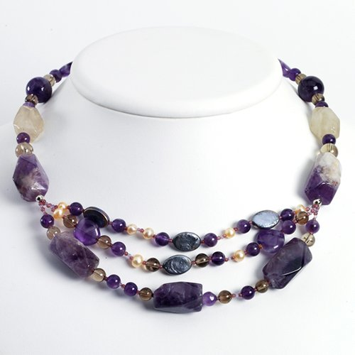 Sterling Silver Amethyst/Cultured Pearl & Smokey Quartz Necklace