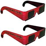 日食グラス メガネタイプ 2個セット CE安全規格適合 ( 金環日食 皆既日食 太陽黒点観測に ) 日食メガネ 太陽メガネ