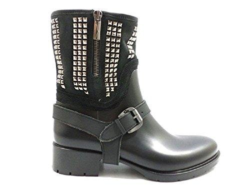 scarpe donna ALBERTO GUARDIANI 38 stivaletti camoscio gomma nero KY979