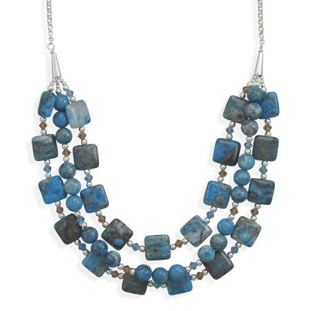 16 Inch + 2 Inch Triple Strand Blue Agate and Crystal Necklace