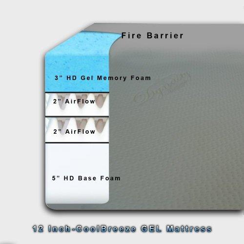 DynastyMattress Cool Breeze 12 Inch Gel Memory Foam