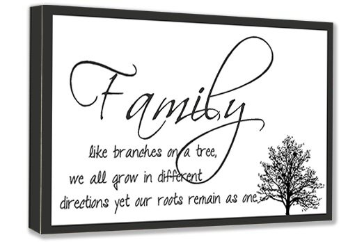 FRAMED CANVAS PRINT Family Like Branches On A Tree, We All