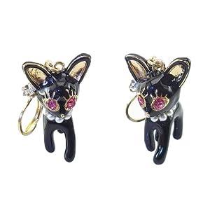 DaisyJewel 3D Black Enameled Cats/Chihuahua Leverback Dangle Earrings