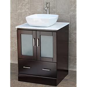 "24"" Bathroom Vanity Solid Wood Cabinet Stone Top Vessel Sink MO7"