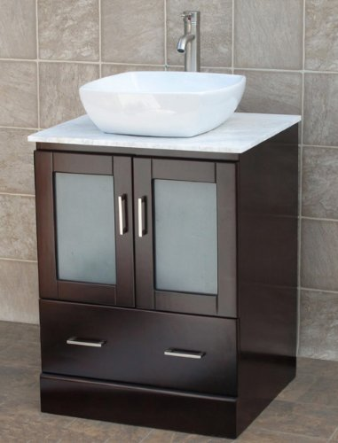 Popular  Bathroom Vanity Solid Wood Cabinet Stone Top Vessel Sink MO