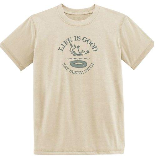 Life Is Good Eat Sleep Swim T-Shirt, Sand White, Medium front-694804