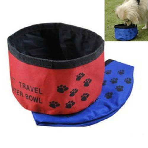 Pet Dog Cat Foldable Travel Outdoor Food Water Feeder Dish Bowl Portable