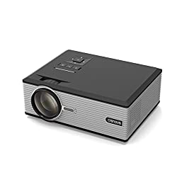 Projector, Crenova XPE470 Mini Projector 130'' Support HD 1080P Video via USB Drive iPad iPhone for Home Movie - Black