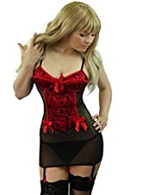 Yummy Bee Lingerie Babydoll Dress Set Suspenders Underwired + Lace Stockings Plus Size 8 - 24