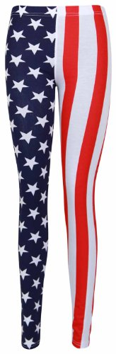 Womens New USA Stretch Fit Elasticated Waist Patterned Trousers Ladies Stars Stripes American Flag Print Leggings