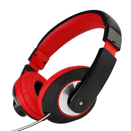 Nuoya001 Boys Girls Kids Over The Head Dj Headphones Ipod Iphone Kindle Laptop +Mic (Black Red)