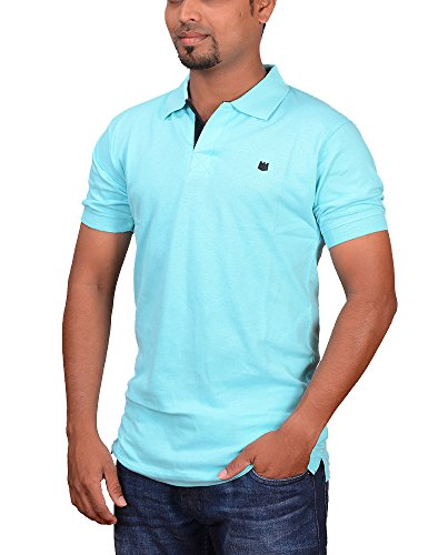 Pride Apparel Men's Cotton Polo Collar T-shirt Sky Blue Color(GH1114219_Sky Blue_Small)