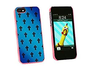 Graphics and More Crosses On Parade Christian Blue Snap-On Hard Protective Case for iPhone 5/5s - Non-Retail Packaging - Pink