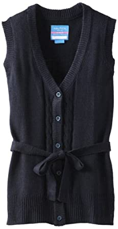 Nautica Big Girls'  Cable Sweater Vest With Belt, Su Navy,L(12-14)