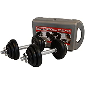 York 20kg Cast Iron Dumbbell Set and Case