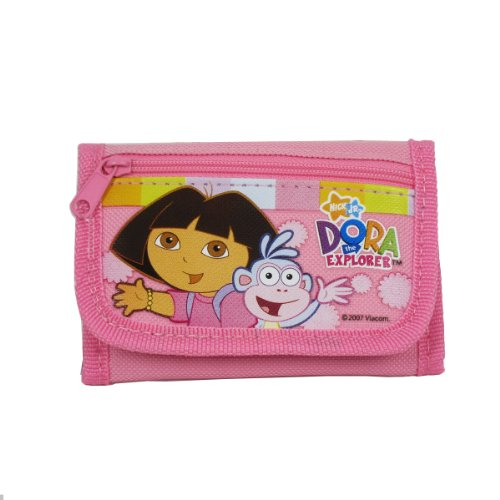 Officially Licensed Dora the Explorer Velcro Closure Tri Fold Wallet - Dora and Boots