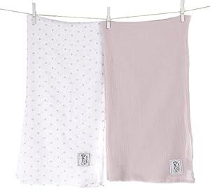 """Little Giraffe Muslin Swaddle Blanket Set - Mini Dot / Solid, 44"""" x 44"""" - Pink"""