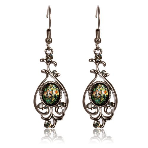 FASHION PLAZA Black Hematite & Opal Antique Reproduction Style long Drop Earrings E332