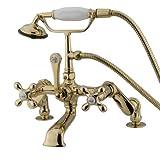 LEG TUB FILLER W/HAND SWR,PVD DECK MOUNT 4-13 ADJ-Polished Brass Finish