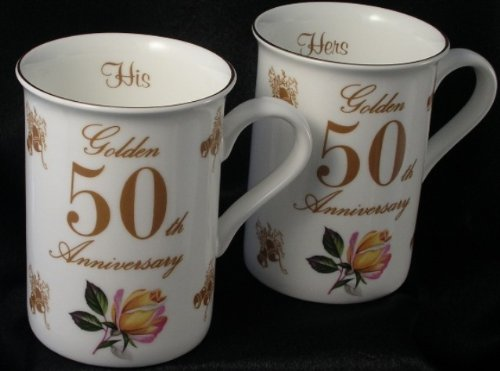 50th Golden Wedding anniversary gift Pair of Mugs