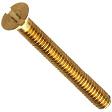 "Brass Machine Screw, Flat Head, Slotted Drive, #000-120, 1/8"" Length (Pack of 100)"
