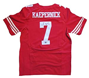 Colin Kaepernick Autographed San Francisco 49ers Football Signed Red Jersey by Powers Collectibles