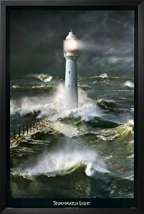 Professionally Framed Stormwatch Light Lighthouse Art Print Poster - 24x36 with Solid Black Wood Frame