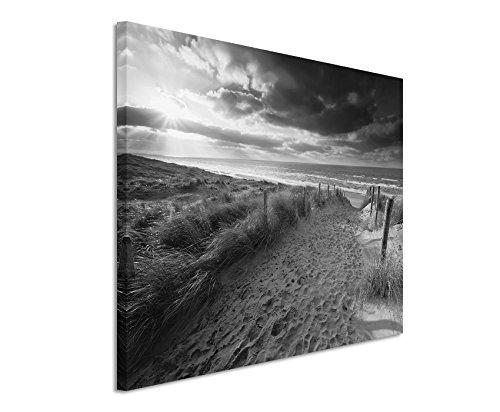 50x70cm Leinwandbild schwarz weiß in Topqualität Strand Sonnenuntergang Holland