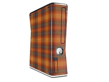 Plaid Pumpkin Orange Decal Style Skin for XBOX 360 Slim Vertical