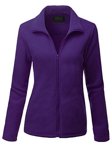 Doublju Womens Comfortable Full-Zip Long Sleeve Fleece Jacket VIOLET,L