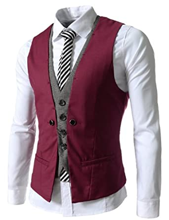 (VE34) TheLees Mens premium Business Casual Layered style Slim wedding Vest WINE Medium(US Small)