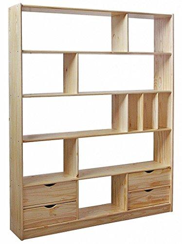 Regal-Raumteiler-CLASSIC-offenes-Bcherregal-Kiefer-massiv-lackiert