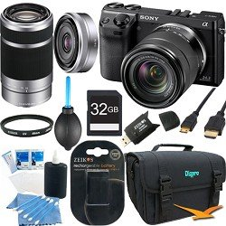 Sony NEX7K/B NEX-7 24.3 MP Black Camera 32GB Bundle w/ 18-55mm, 55-210mm & 16mm lens