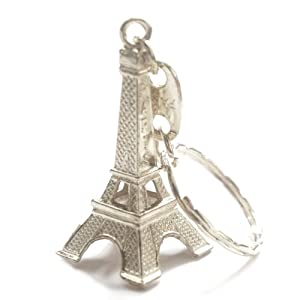 24 Pack - Silver Eiffel Tower key chain favor from Paris, French souvenirs key rings (24)
