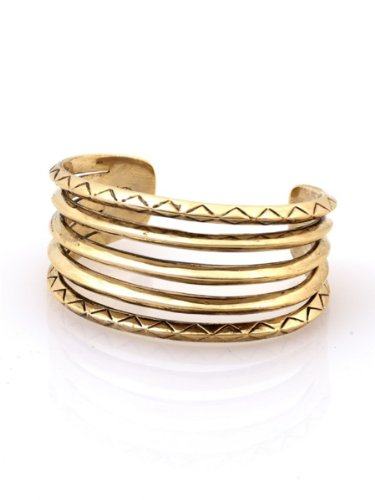 House of Harlow 1960 Jewelry Etched Stacked Cuff - Gold