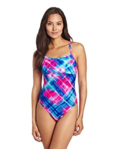 TYR Women's Baja Plaid Reversible Diamondfit Swimsuit with Cups, Blue/Pink, Small