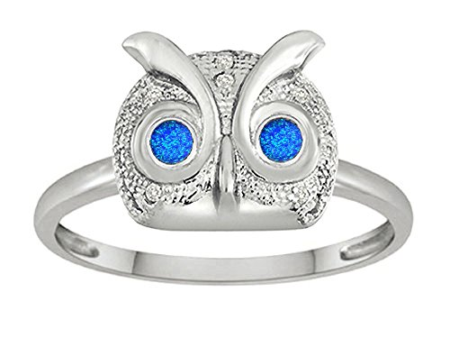 Star K Round Simulated Blue Opal Good Luck Owl Ring Size 8 Picture