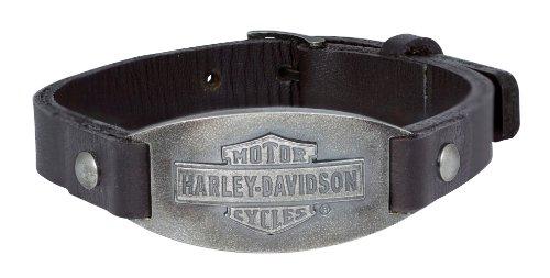 Harley-Davidson Mens .925 Silver Vintage B&S Oval Leather Bracelet Bracelet