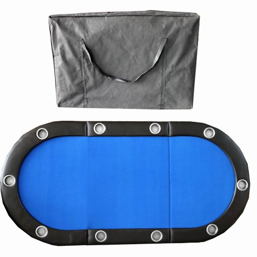 "Fantastic Deal! 84"" 10 Player Texas Hold'em Folding Poker Table Top Blue with Carrying Bag"