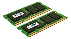 Crucial 4GB Kit (2GBx2) DDR2 800MHz (PC2-6400) CL6 SODIMM 200-Pin Notebook Memory Modules CT2KIT25664AC800