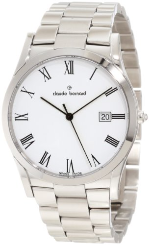Claude Bernard Men's 70163 3 BR Classic Gents Stainless Steel White Dial Date Watch