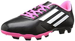 adidas Performance Conquisto Firm-Ground J Soccer Cleat ,Black/White/Solar Pink,2 M US Little Kid