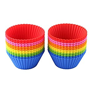 [Pack of 24] eGroo® Silicone Baking Cups Cupcake Liners , Non-stick & Reusable Muffin Cups Molds