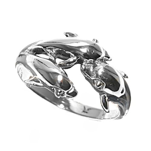 Rhodium Plated Sterling Silver Wedding & Engagement Ring Dolphin Ring 11Mm ( Size 5 To 9) Size 9