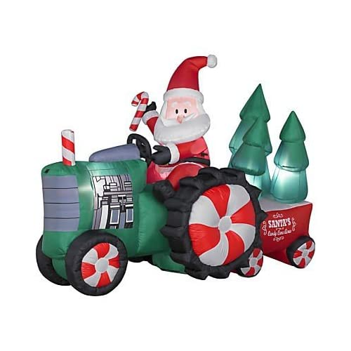 8Ft. - Gemmy Christmas Airblown Inflatable - Santa Tractor with Trees