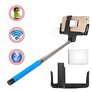shopantic tm blue extendable flexible wired control selfie stick phone monopod. Black Bedroom Furniture Sets. Home Design Ideas