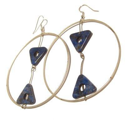 Lapis Earrings 10 Hoop White Blue Triangle Gemstone Crystal Healing 3.5