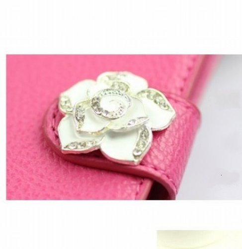 Luxury Crystal Rhinestone Camellia Leather Card Flip Card Holder Wallet Case Cover for Samsung Galaxy Motorola LG Mobile Cell Phone Samsung Galaxy S Blaze 4G SGH-T769 T-Mobile - light pink