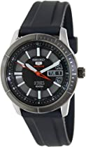Seiko 5 Black Dial Stainless Steel Black Rubber Mens Watch SRP341K2