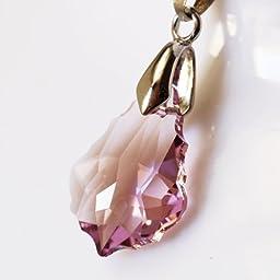 Beautiful Austrian Crystal Pink/Purple Pendant Necklace